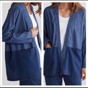 Eileen Fisher Color Block Denim kimono Jacket 1X